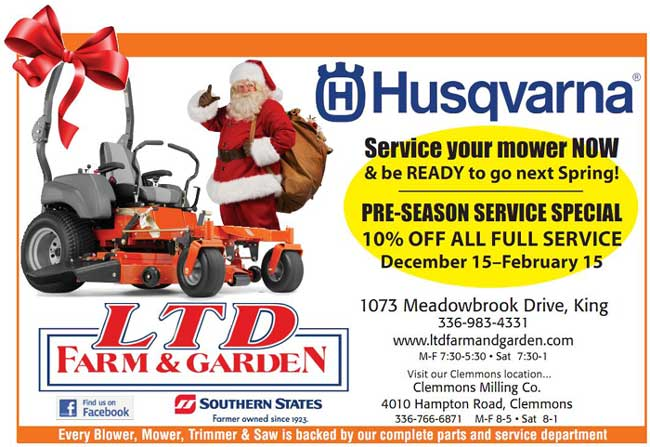 Service yur mower now and be ready for Spring. Pre-season service special